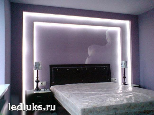 Освещение спальни светодиодной лентой от компании ЛедЛюкс