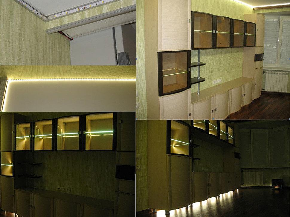 Светодиодное освещение лентой, можно купить в магазине ЛедЛюкс в Москве